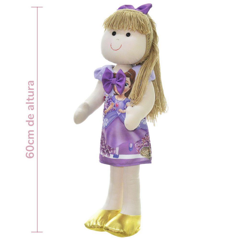 Boneca de Pano Pri com vestido tema Princesa Sofia