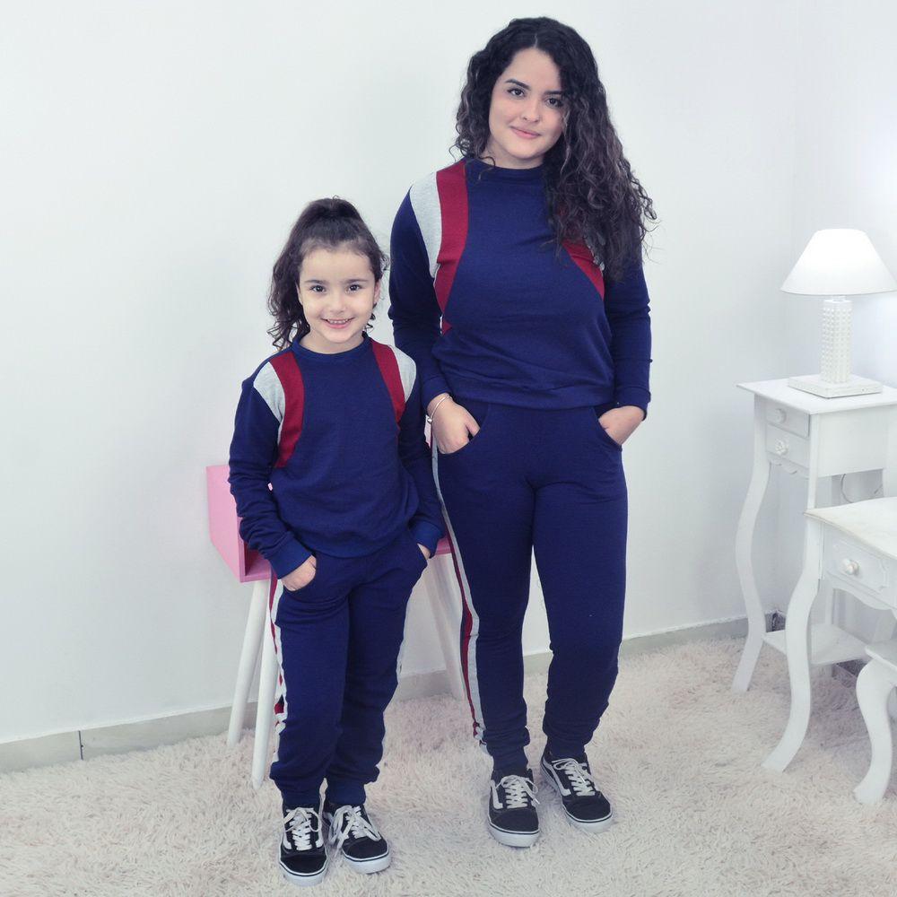 Conjunto Mãe e Filha Moletinho Calça e Blusa Moletom Azul
