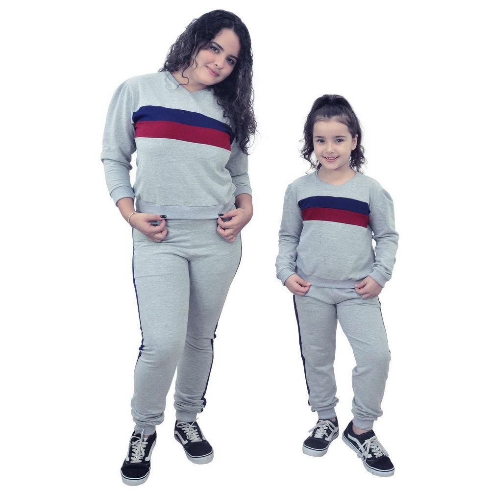 Conjunto Mãe e Filha Moletinho Calça e Blusa Moletom Cinza