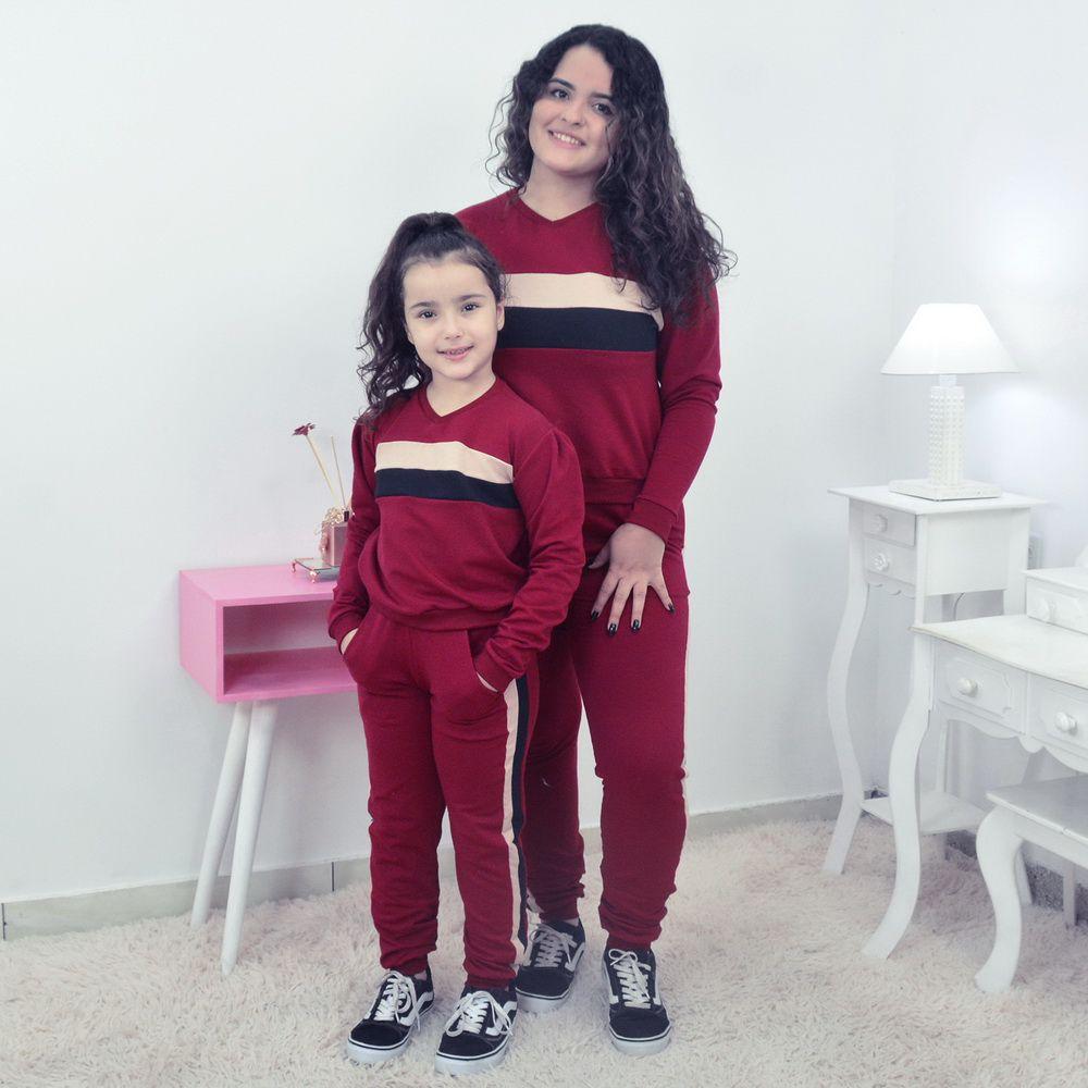 Conjunto Mãe e Filha Moletinho Calça e Blusa Moletom Marsala