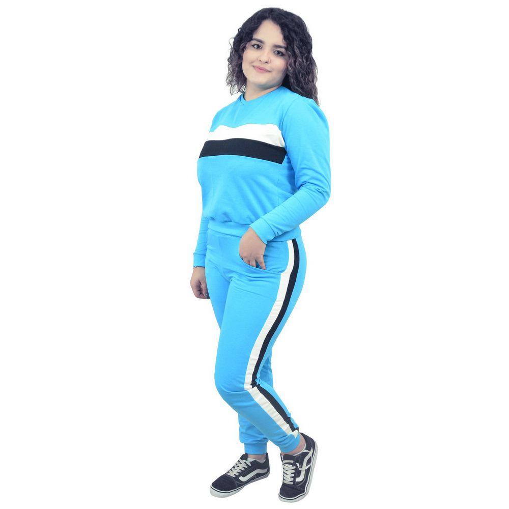 Conjunto Moletinho Feminino Azul com detalhes branco e preto