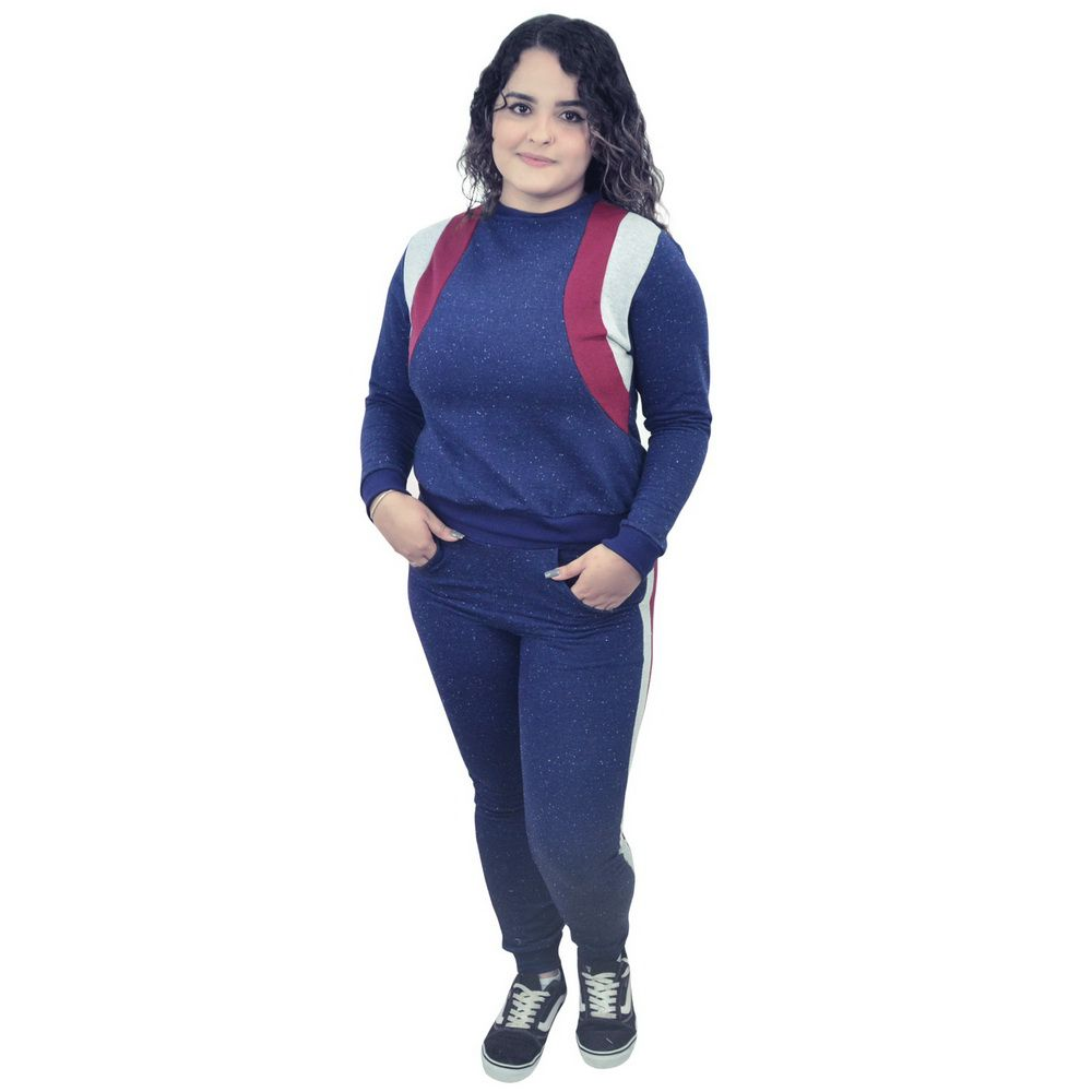 Conjunto Moletinho Feminino Azul com detalhes marsala e cinza
