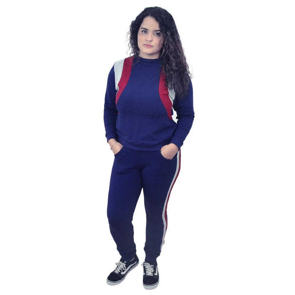 Conjunto Moletinho Feminino Calça e Blusa Moletom Azul - Adulto