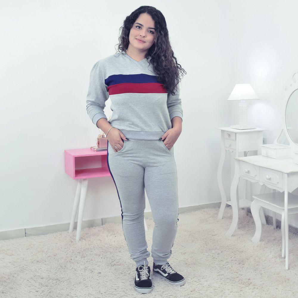 Conjunto Moletinho Feminino Calça e Blusa Moletom Cinza - Adulto