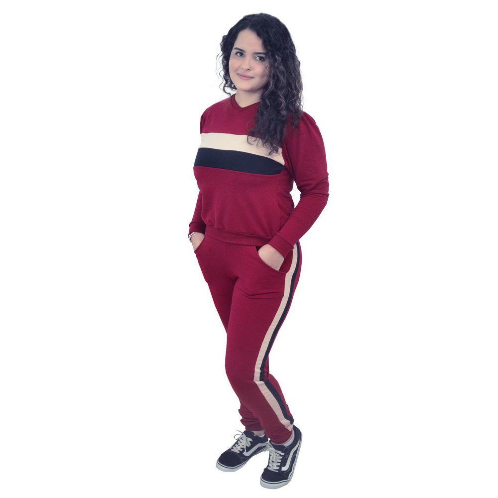 Conjunto Moletinho Feminino Calça e Blusa Moletom Marsala - Adulto