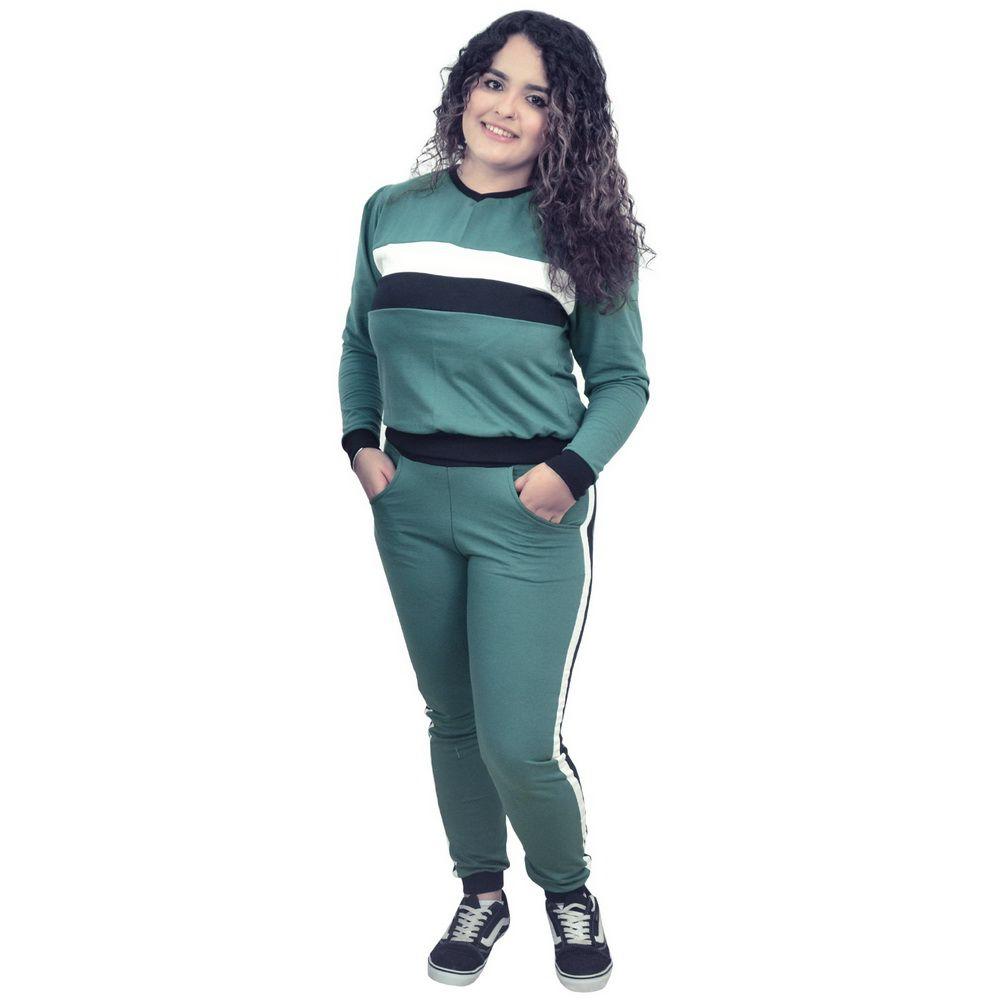 Conjunto Moletinho Feminino verde com detalhes branco e preto
