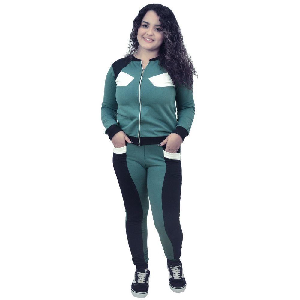 Conjunto Moletinho Feminino Verde com Preto