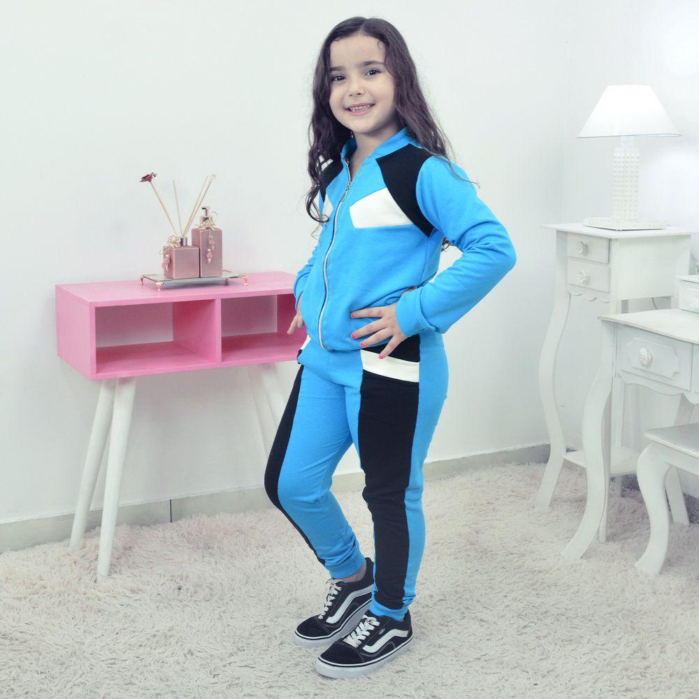 Conjunto Moletinho Infantil Azul com Preto