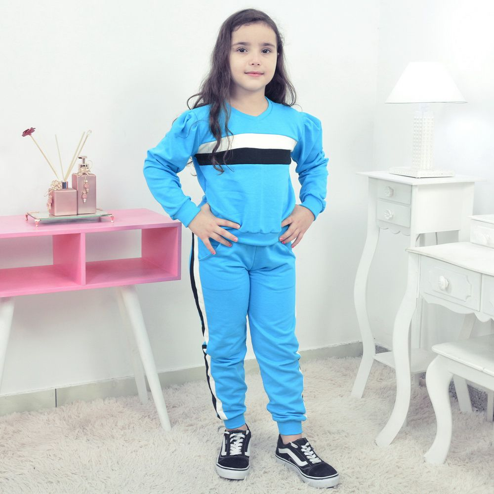 Conjunto Moletinho Infantil Azul com detalhes branco e preto