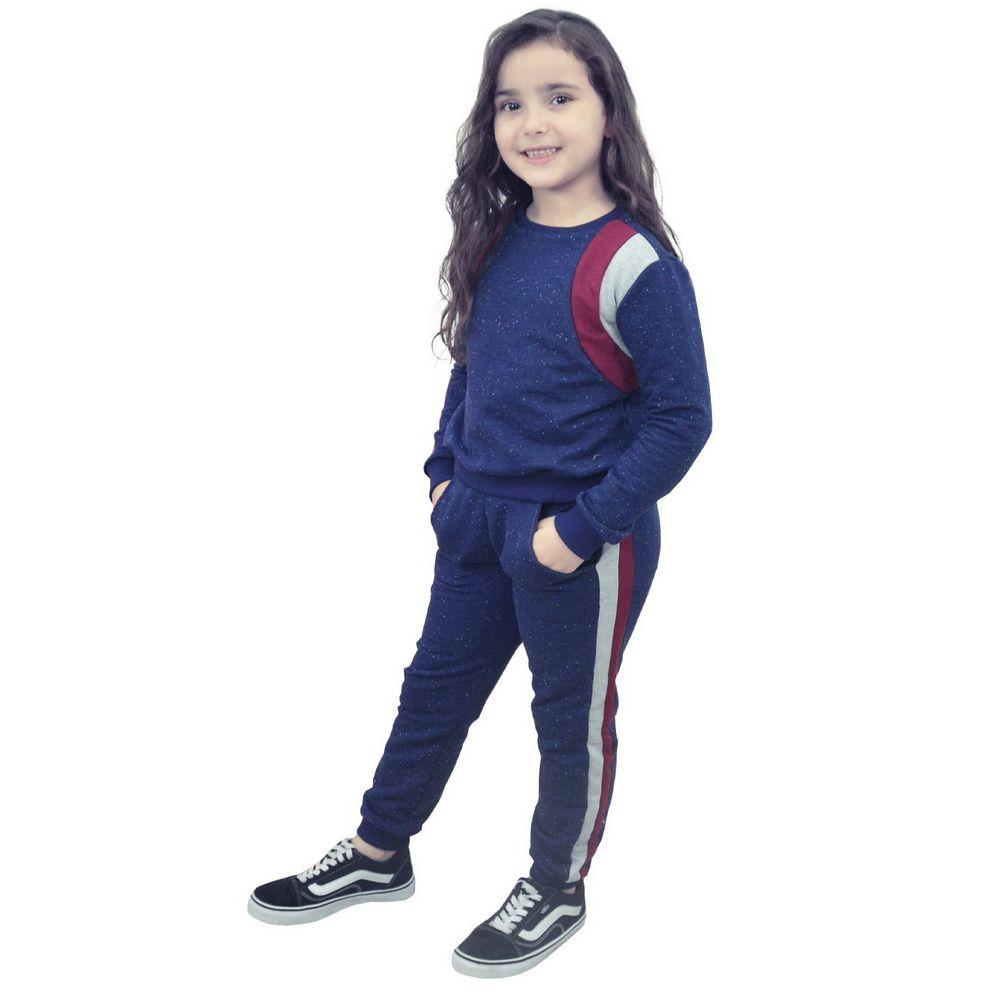 Conjunto Moletinho Infantil Azul com detalhes marsala e cinza