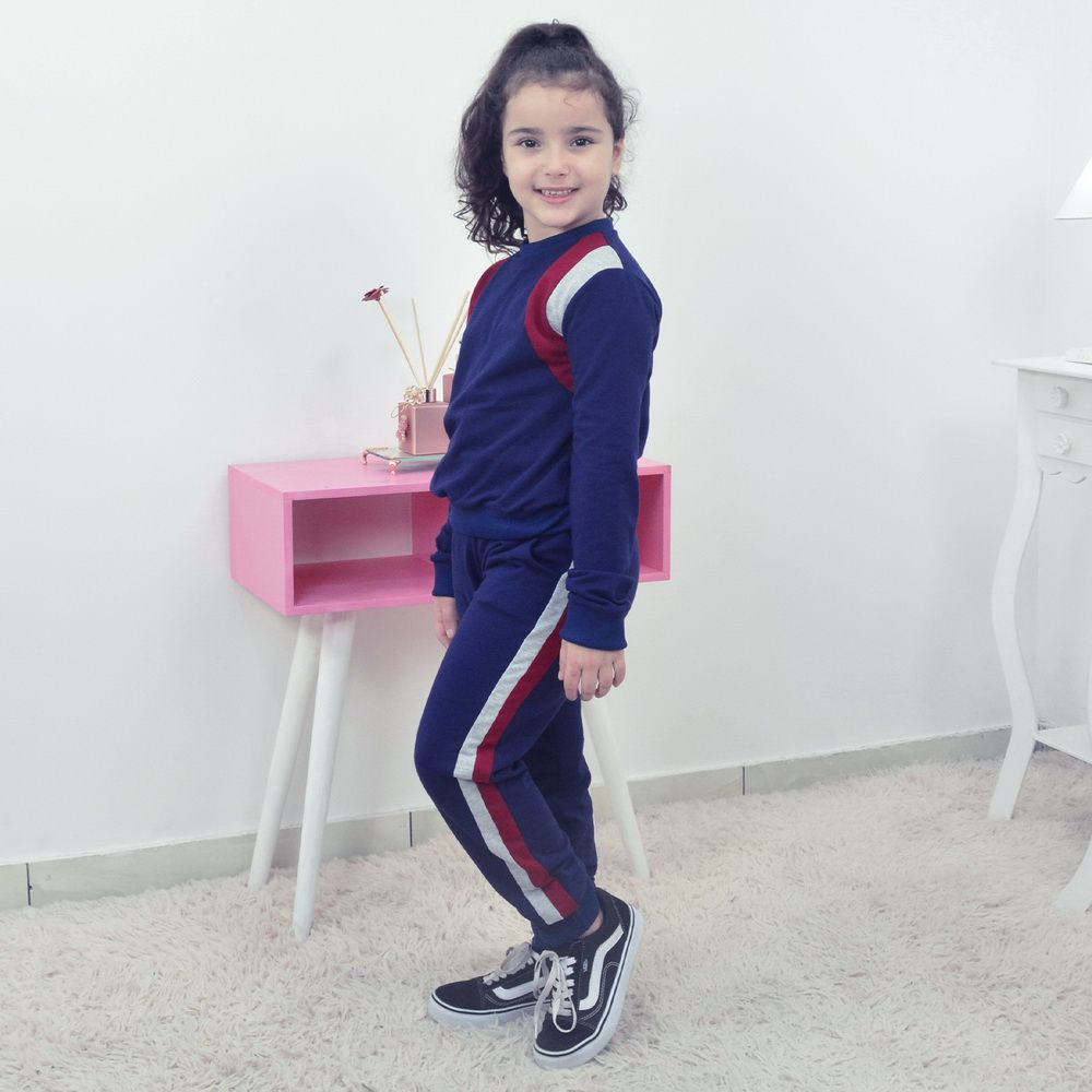 Conjunto Moletinho infantil Feminino Calça e Blusa Moletom azul