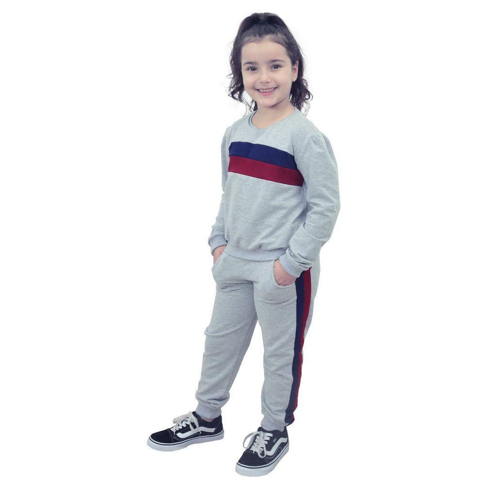 Conjunto Moletinho infantil Feminino Calça e Blusa Moletom Cinza