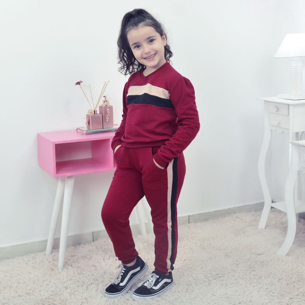 Conjunto Moletinho infantil Feminino Calça e Blusa Moletom marsala