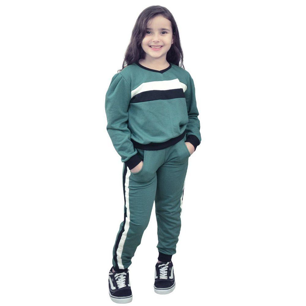 Conjunto Moletinho Infantil verde com detalhes branco e preto