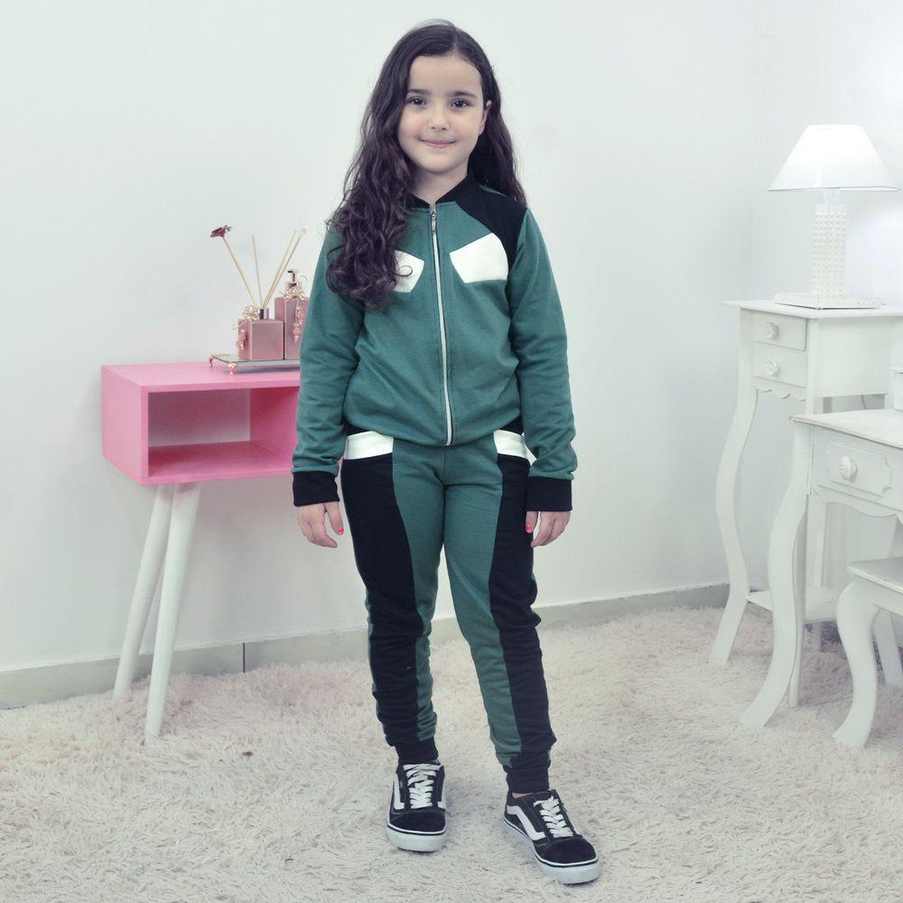 Conjunto Moletinho Infantil Verde com Preto