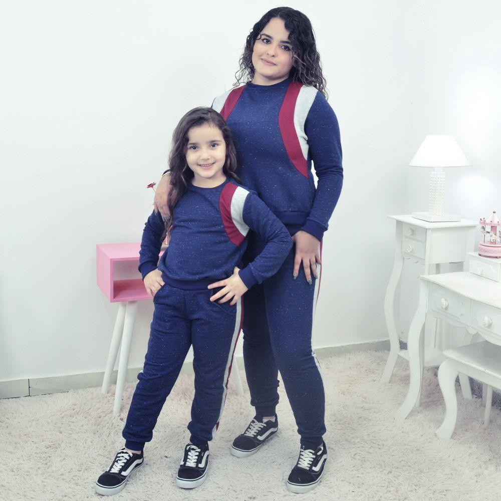 Conjunto Moletinho Mãe e Filha Azul com detalhes marsala e cinza