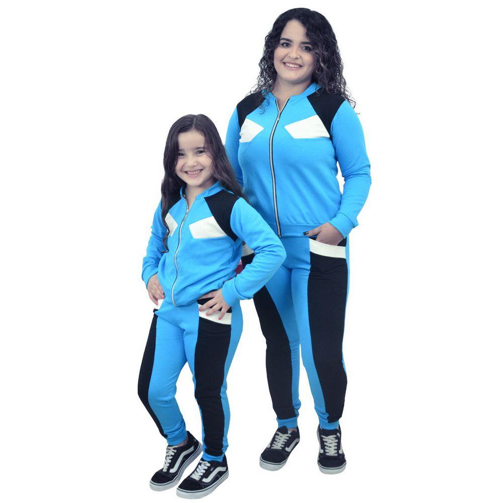 Conjunto Moletinho Mãe e Filha Azul com Preto