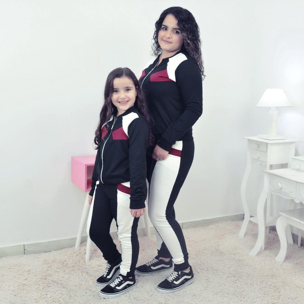 Conjunto Moletinho Mãe e Filha Preto com Branco OFF