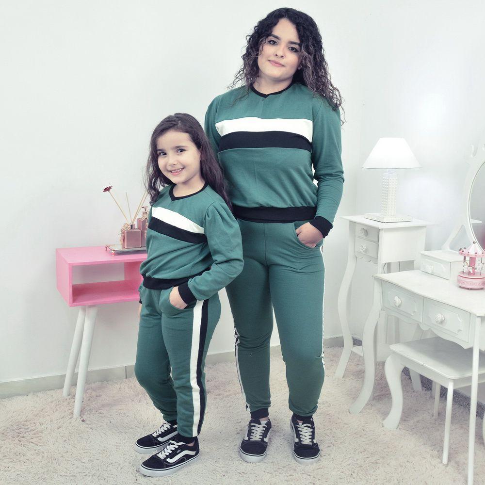 Conjunto Moletinho Mãe e Filha verde com detalhes branco e preto