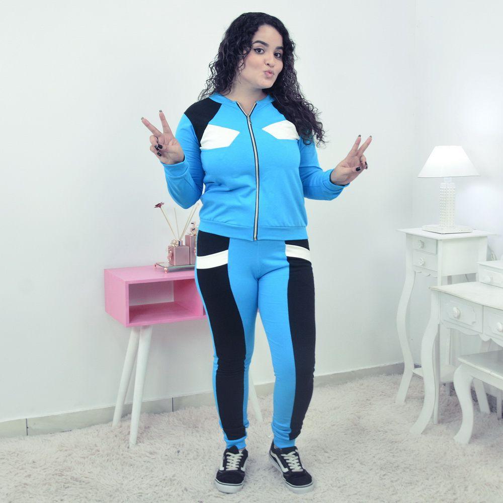 Conjunto Moletinho Feminino Azul com Preto