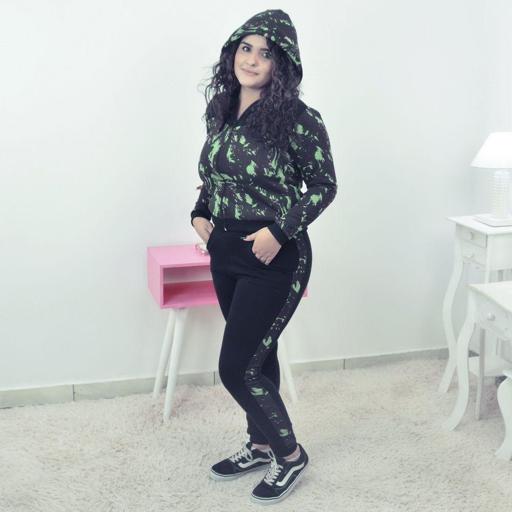 Conjunto Moletinho Preto Feminino Camuflado Verde Militar e capuz