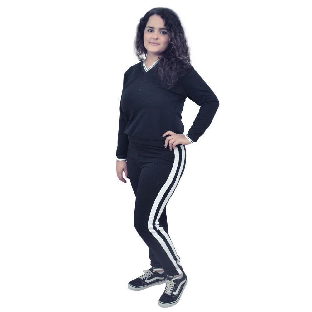 Conjunto Moletinho Preto Feminino - Faixas branca na lateral