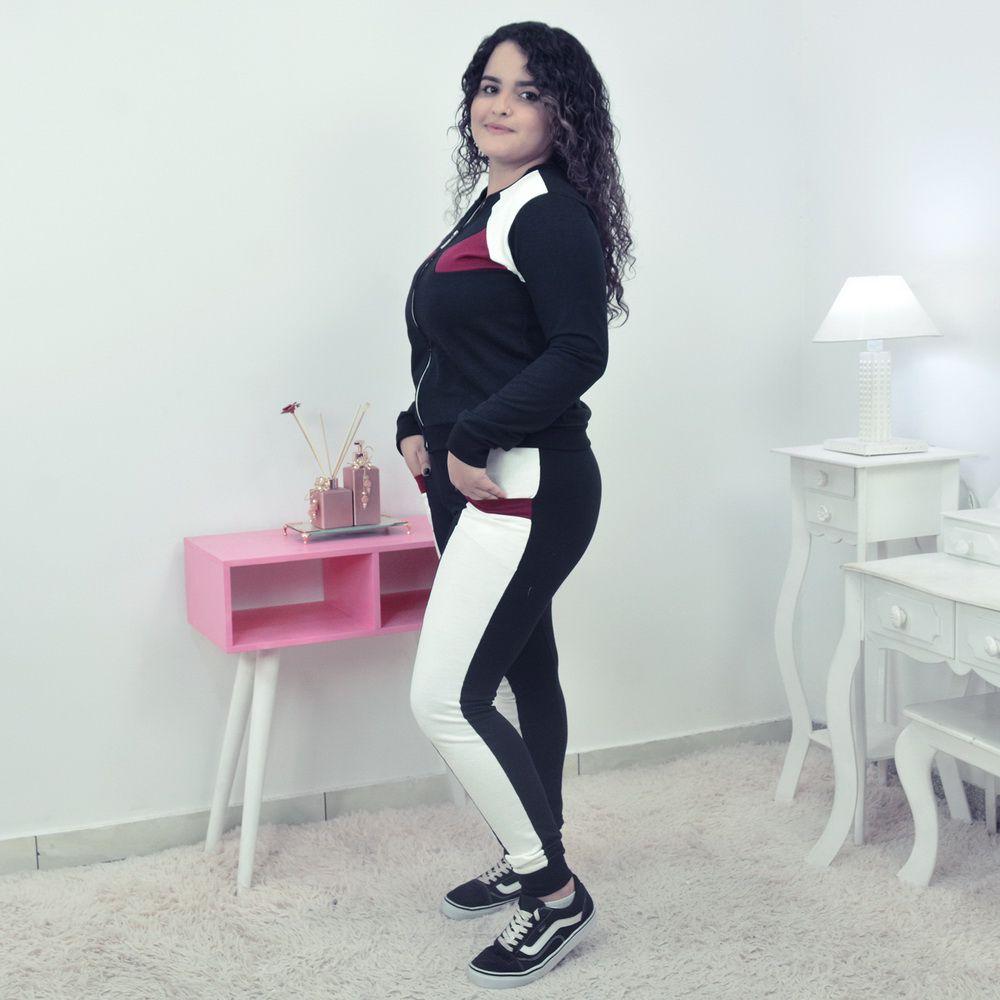 Conjunto Moletinho Preto Feminino Preto com Branco OFF