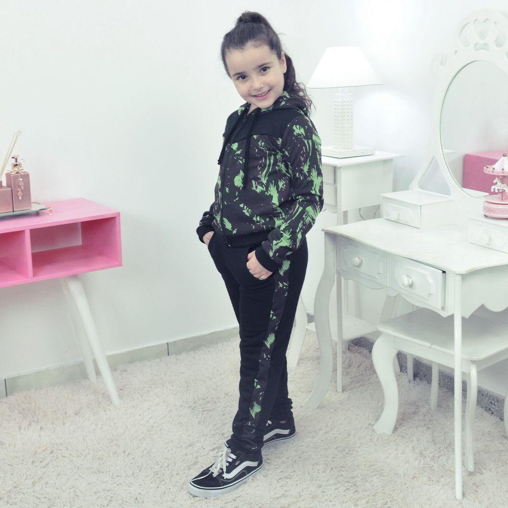 Conjunto Moletinho Preto Infantil Camuflado Verde Militar e capuz
