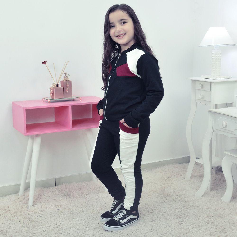 Conjunto Moletinho Preto Infantil  Preto com Branco OFF