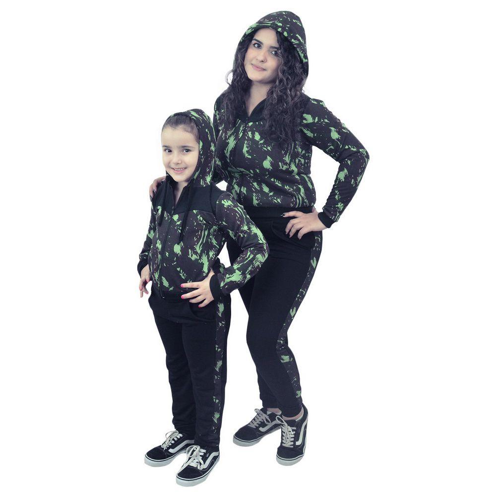 Conjunto Moletinho Mãe e Filha Camuflado Verde Militar e capuz