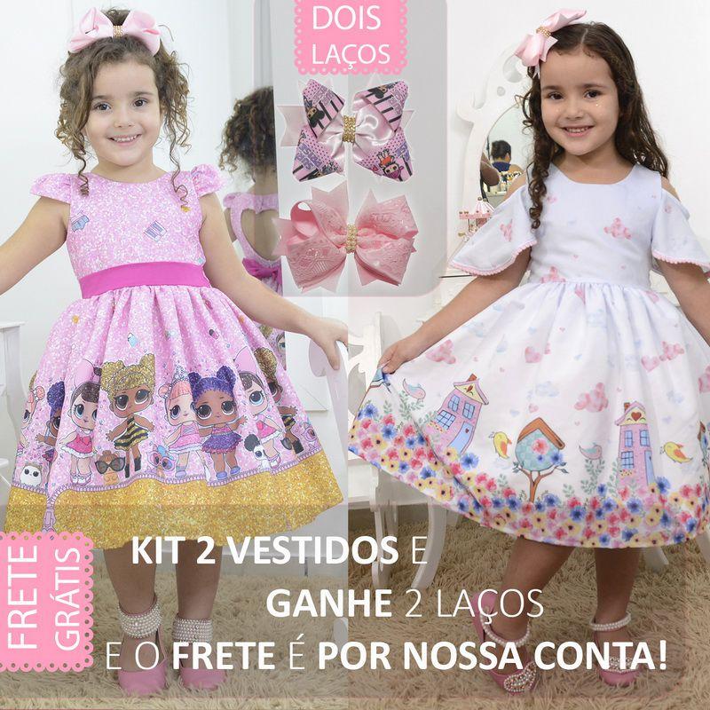 kit 2 vestidos: Um tema da Lol glitter e outro tema jardim encantado, de brinde 2 laços para cabelo