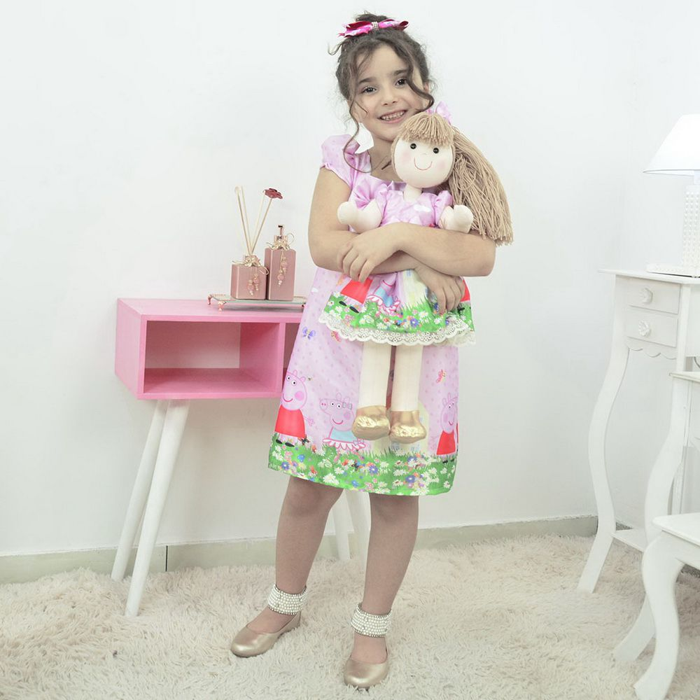 Kit Vestido Peppa Pig Rosa e Boneca de Pano Pri