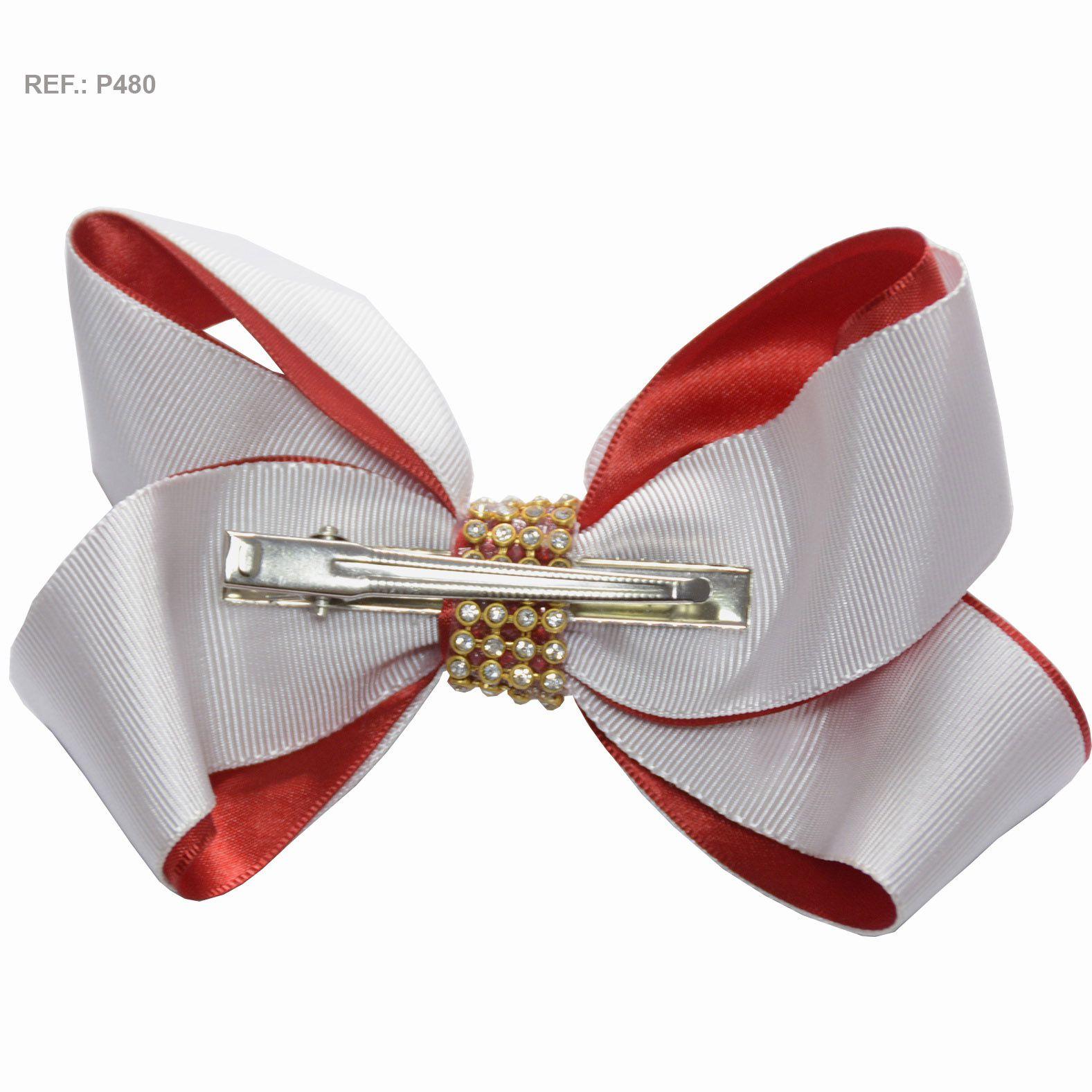 Laço liso branco com vermelho