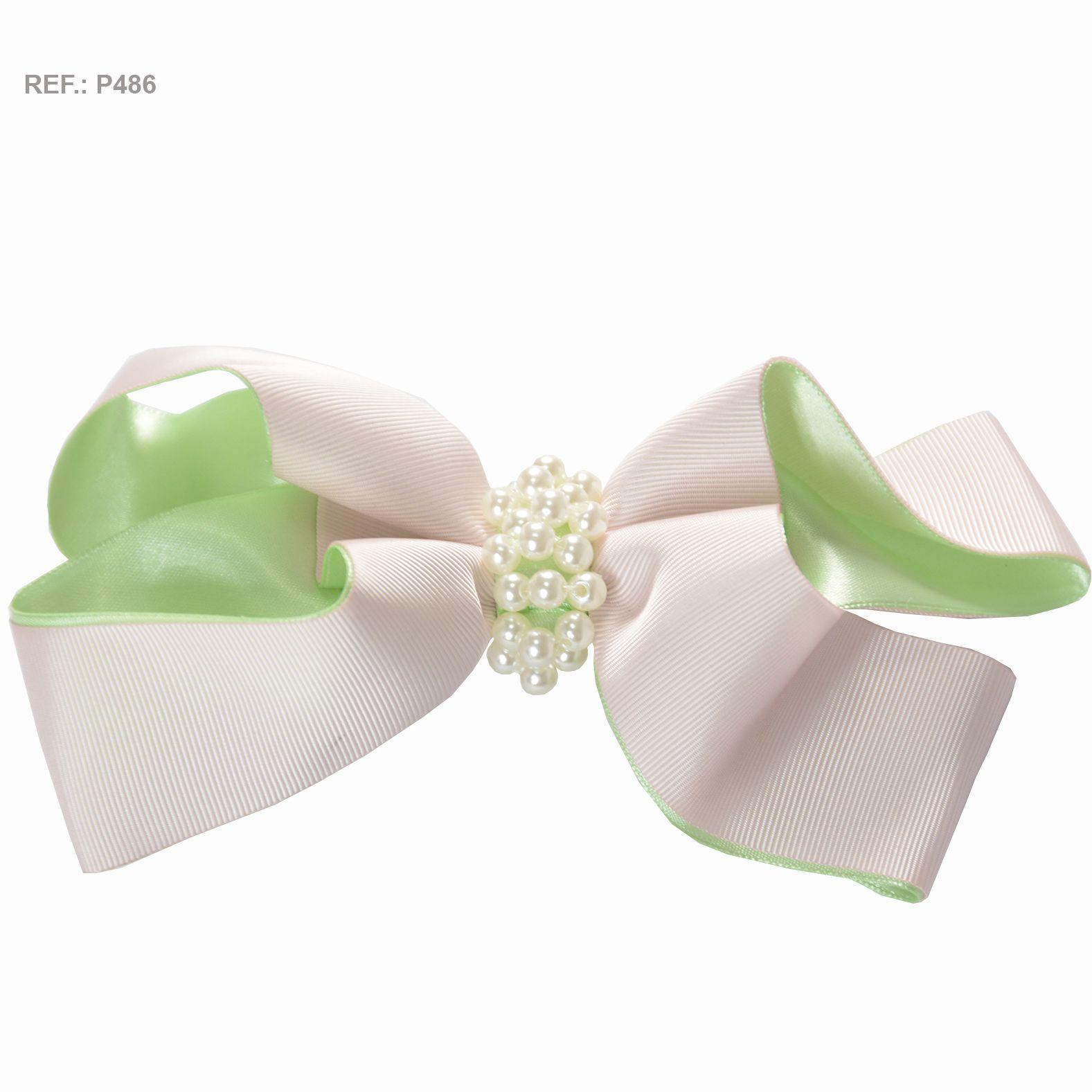 Laço liso branco rosado com verde
