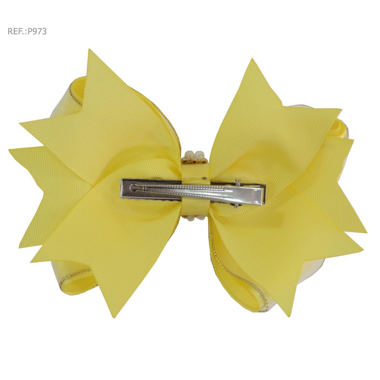Laço para cabelo liso amarela com pérolas