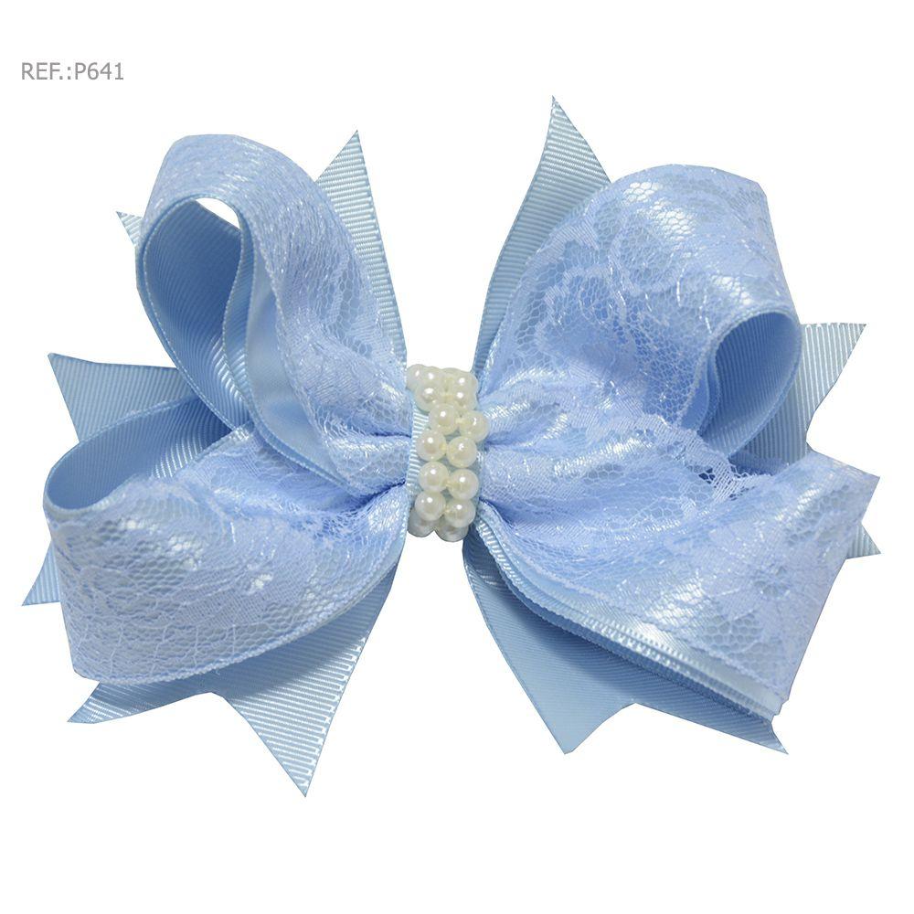 Laço para cabelo liso azul bebê com renda
