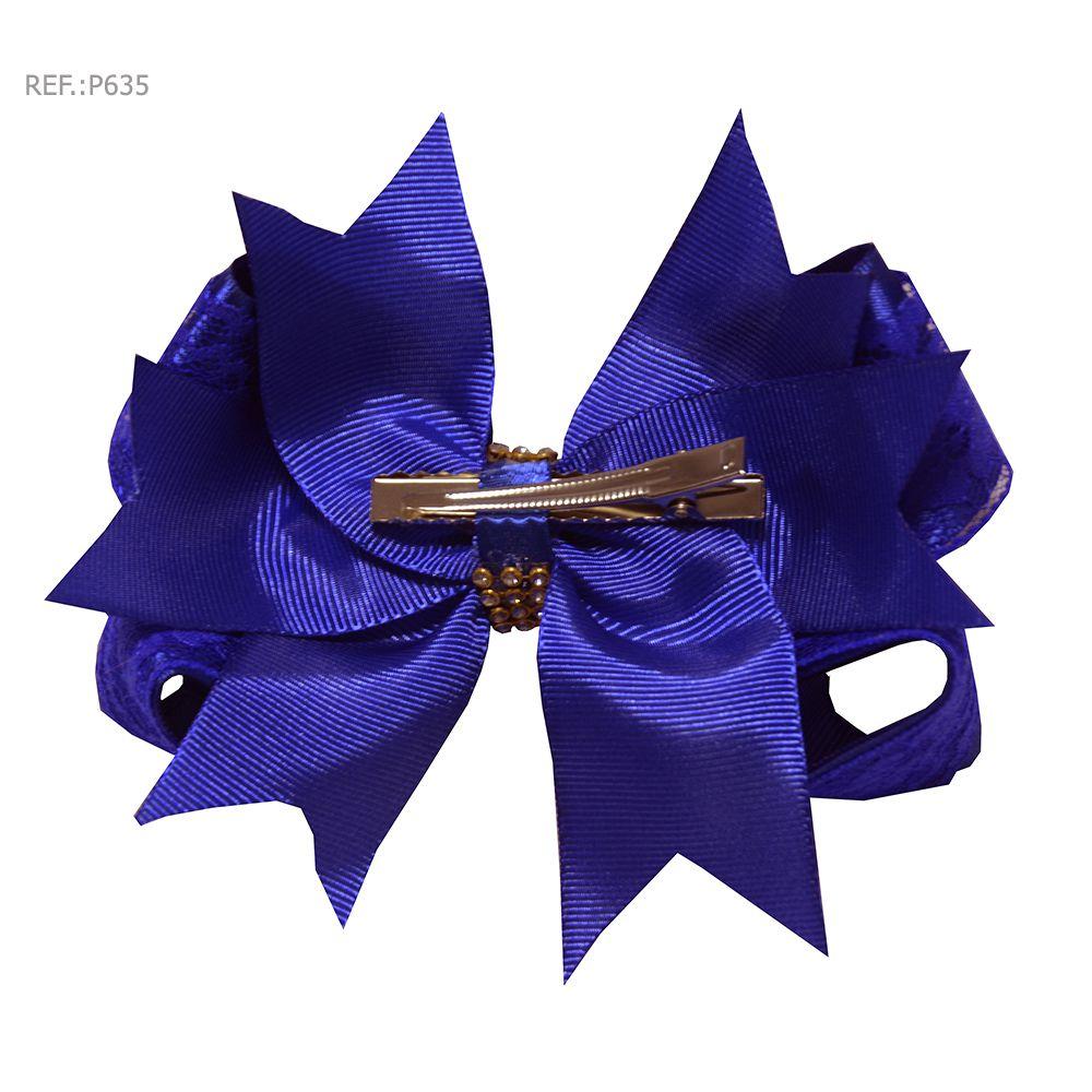 Laço para cabelo liso azul com renda