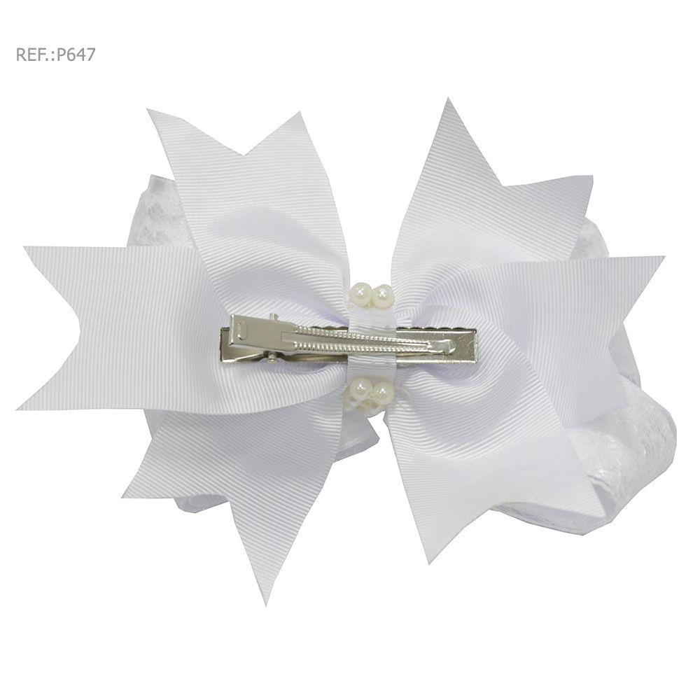 Laço para cabelo liso branco com renda