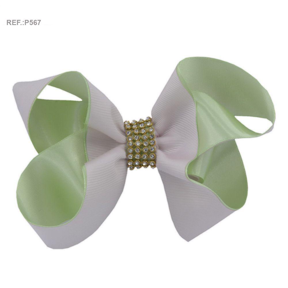Laço para cabelo liso branco rosado com verde