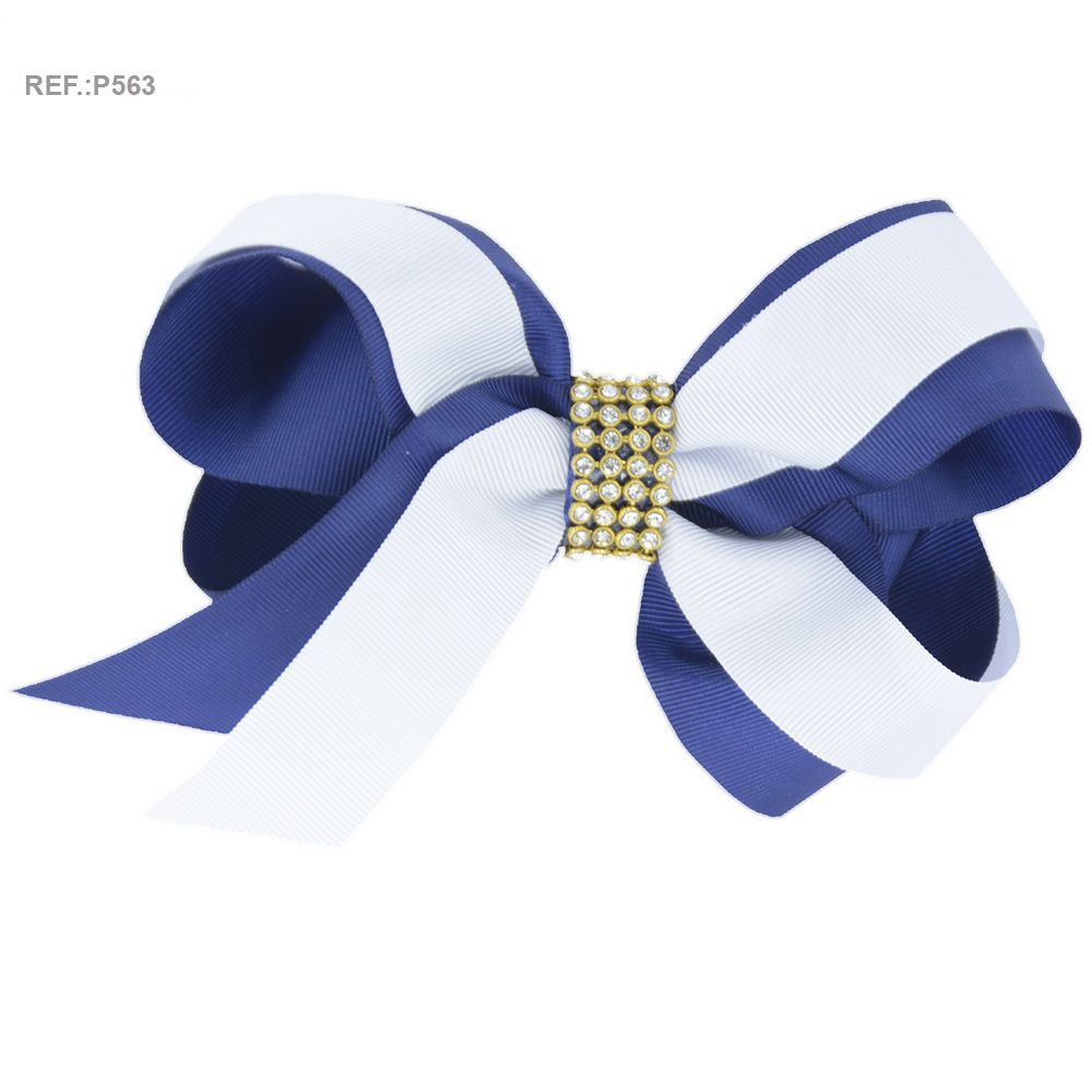 Laço para cabelo liso branco e azul