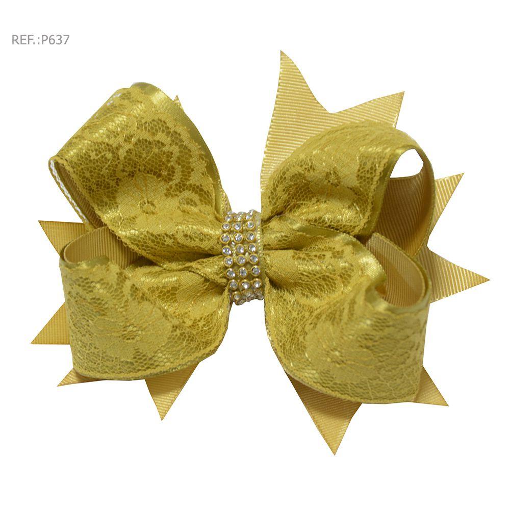 Laço para cabelo liso dourado com renda