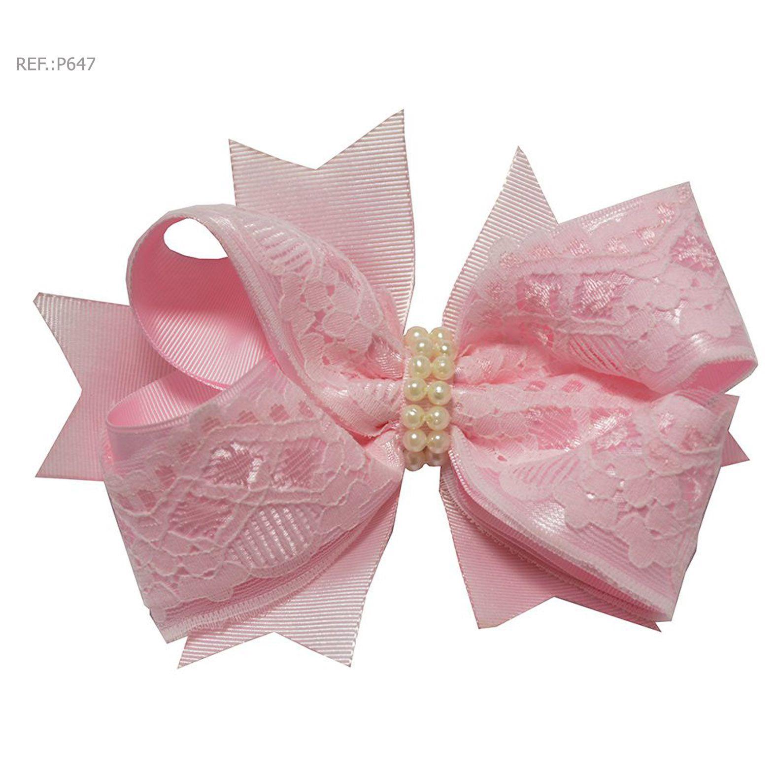 Laço para cabelo liso rosa bebê com renda