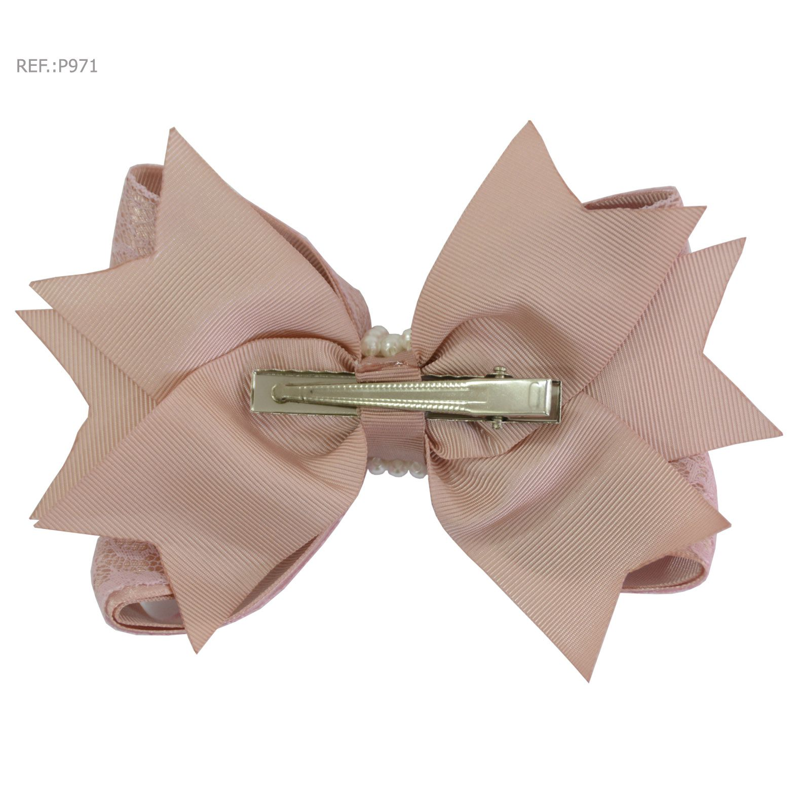 Laço para cabelo liso rosa seco com renda