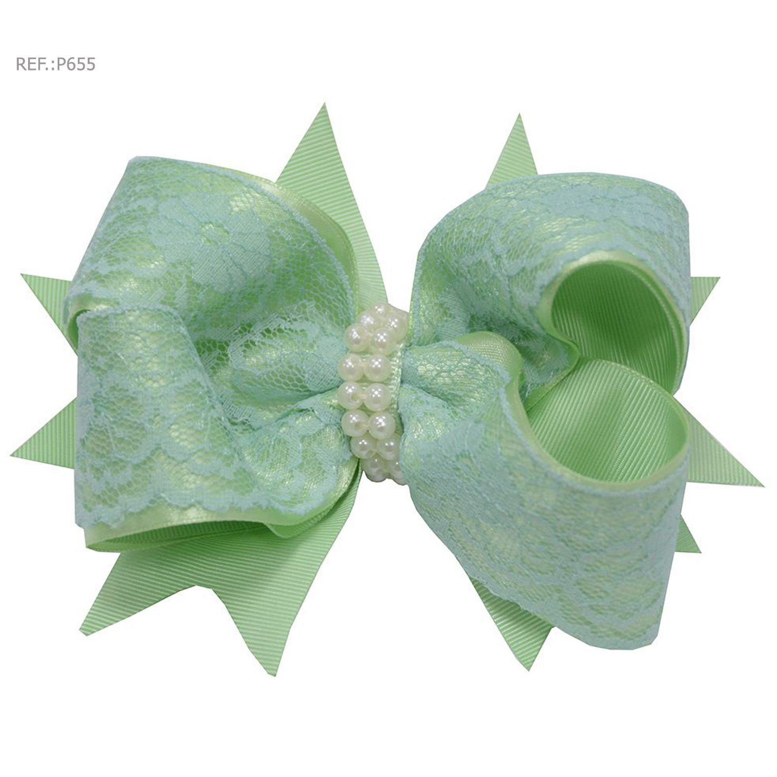 Laço para cabelo liso verde tiffany com renda