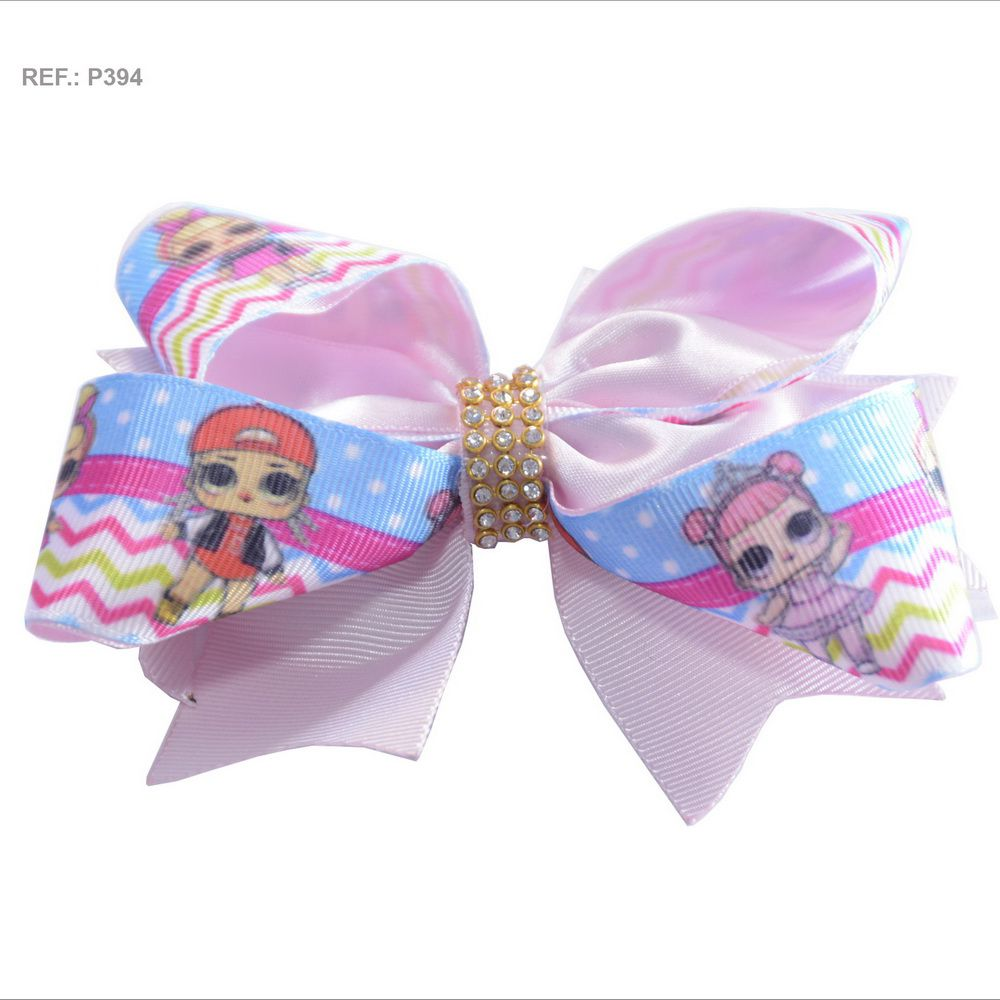 Laço temático da Lol Surprise rosa bebê