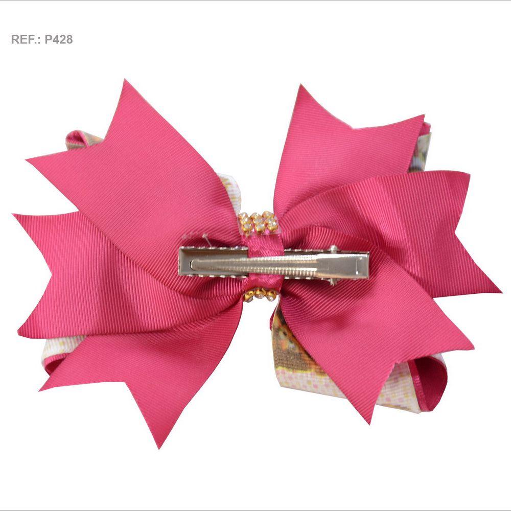 Laço temático da Masha e o Urso rosa pink