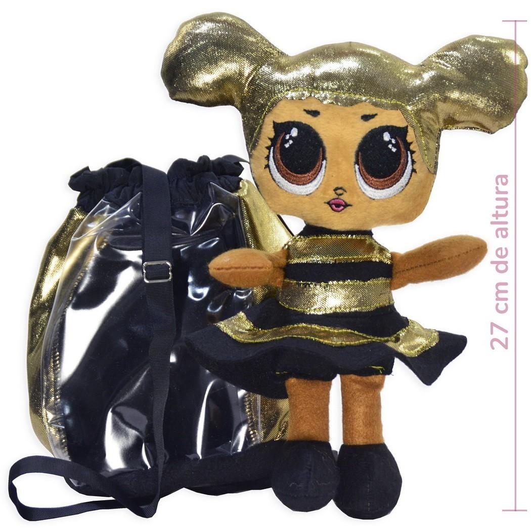 Pelúcia da Lol Queen Bee Abelhinha e Bolsa Preta com Dourado
