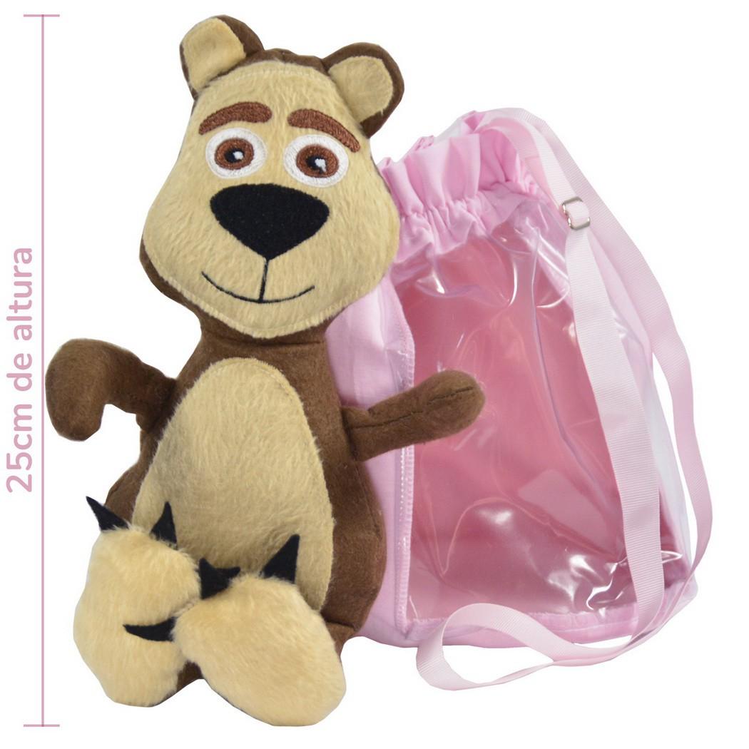 Pelúcia do Urso da Masha e Bolsa Rosa