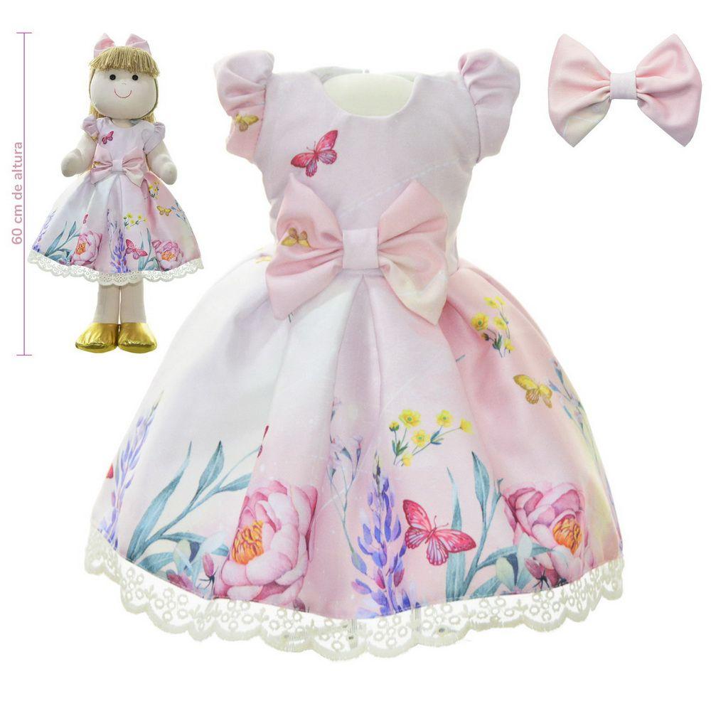 Roupa para Boneca de Pano estampa floral - Vestido