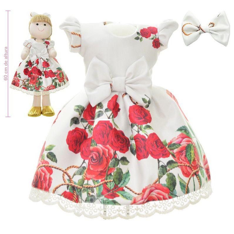 Roupa para Boneca de Pano floral bege off com rosas vermelhas - Vestido